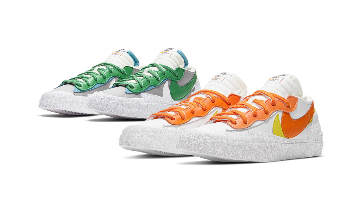 sacai x Nike Blazer Low 'Magma Orange' & 'Classic Green'   Raffles Closed!