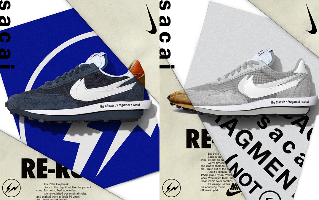 Nike LDWaffle x sacai x Fragment 'Light Smoke Grey' & 'Blackened Blue' | Raffles Closed!