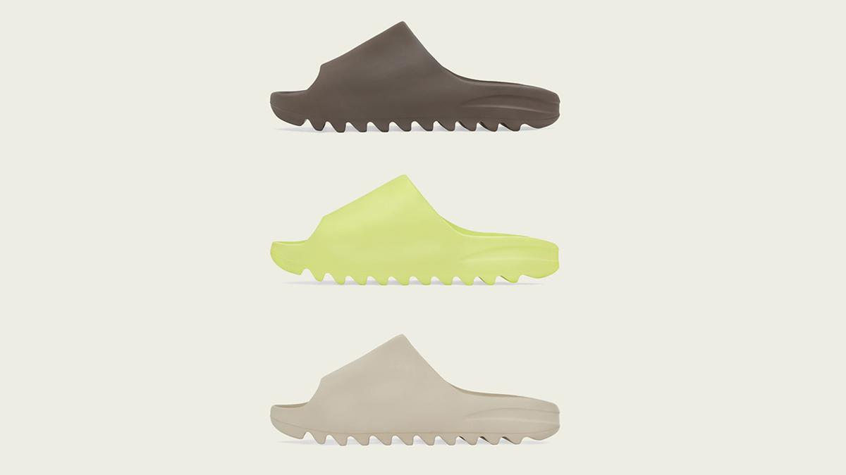 YEEZY SLIDE 'Glow Green', 'Soot' & 'Pure' | Raffles Closed!